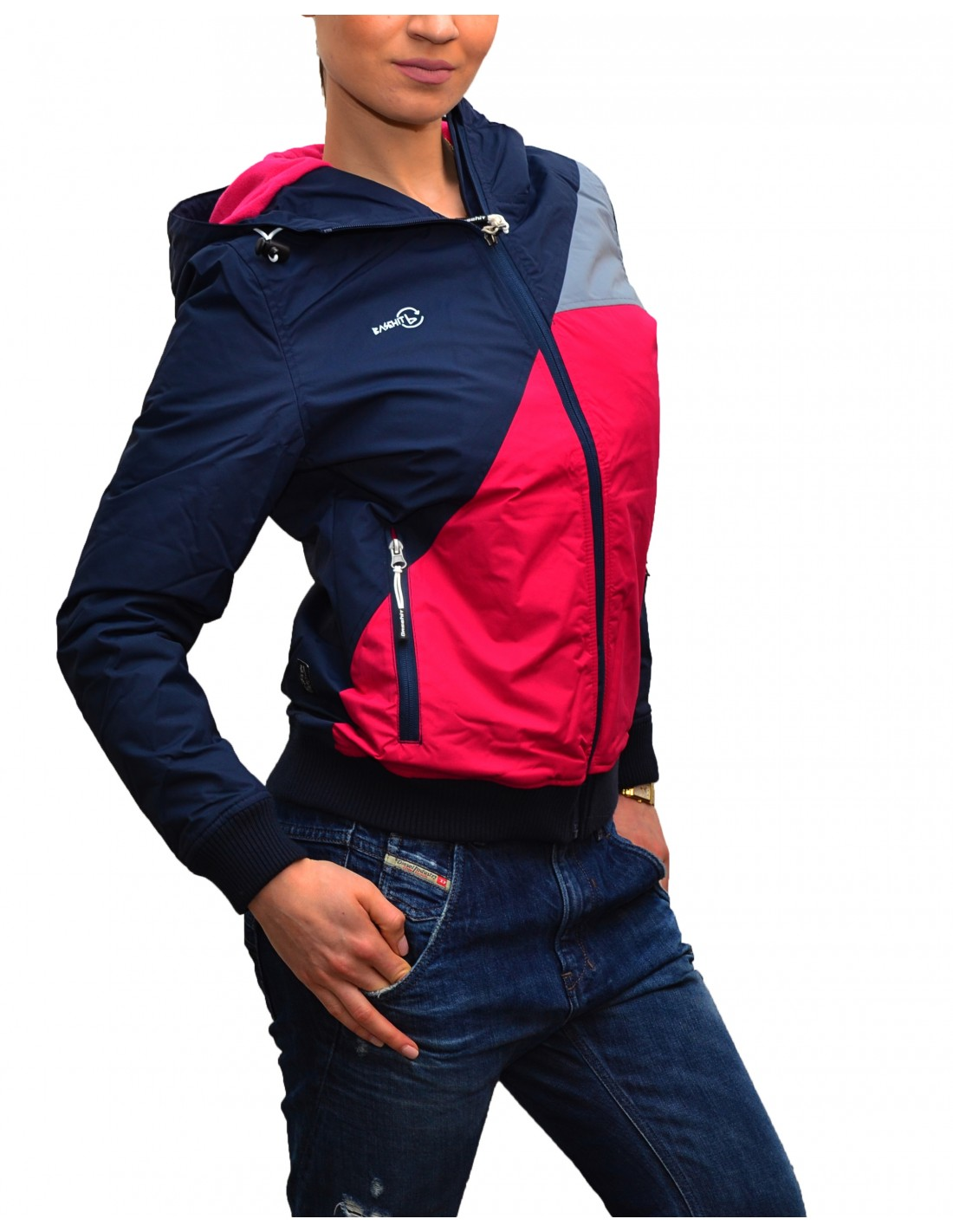 32d210884020 Basehit Γυναικείο Μπουφάν Navy/Rose W1639N